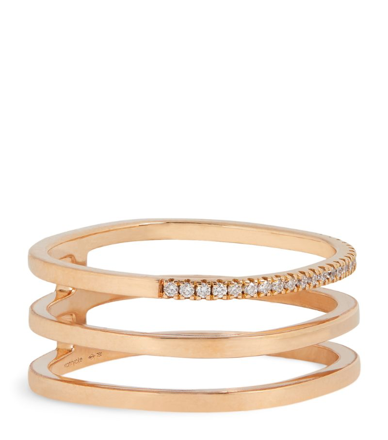Vanrycke Rose Gold And Diamond Charlie Triple Ring (Size 54)