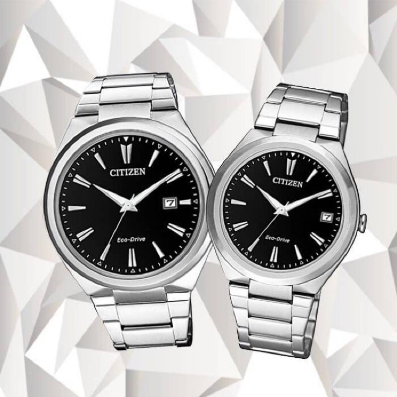 全新[CITIZEN PAIR對錶 鑽石切面光動能簡約對錶情侶錶-銀色AW1370-51F/FE6020-56F