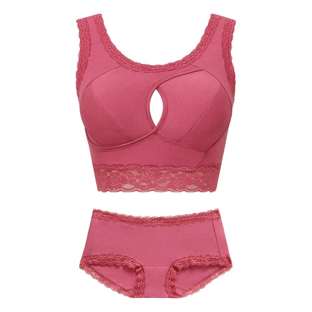 雙C防擴對策 棉感睡眠內衣成套~伯爵玫瑰-桃紅