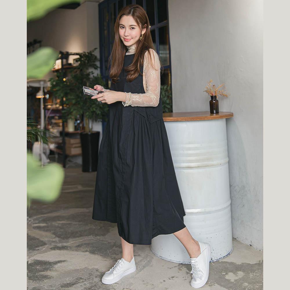 圓領無袖褶寬襬背心洋裝- 黑色