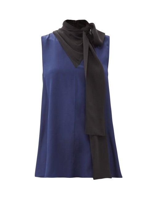 Roksanda - Flava Pussy-bow Sleeveless Silk Blouse - Womens - Navy Multi