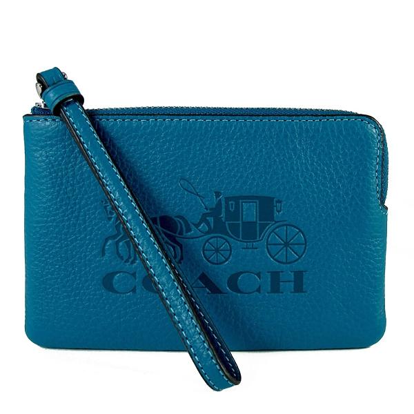 COACH 壓印大馬車LOGO荔枝紋皮革手拿包(藍綠色)-3580