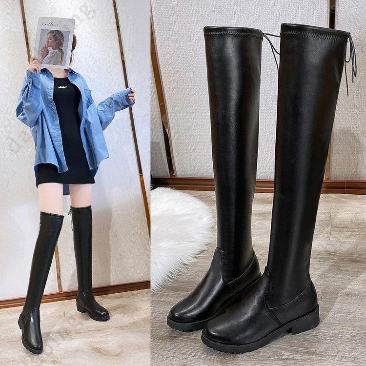 現貨大尺碼35-43小香風過膝靴長靴高筒靴平底2020新款騎士靴大碼女靴胖mm粗腿中筒靴