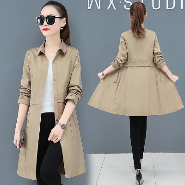 風衣女式2021年新款春裝中長款洋氣高貴外套小個子中款大衣T129 胖丫