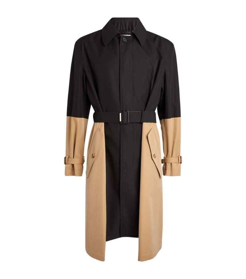 Alexander Mcqueen Cotton Spliced Trench Coat