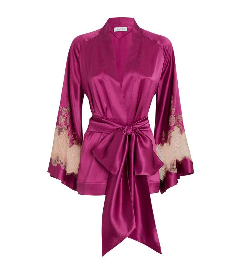 Carine Gilson Silk Lace-Trim Kimono Robe