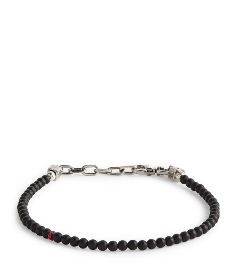 Title Of Work Sterling Silver, Onyx And Ruby Beaded Bracelet