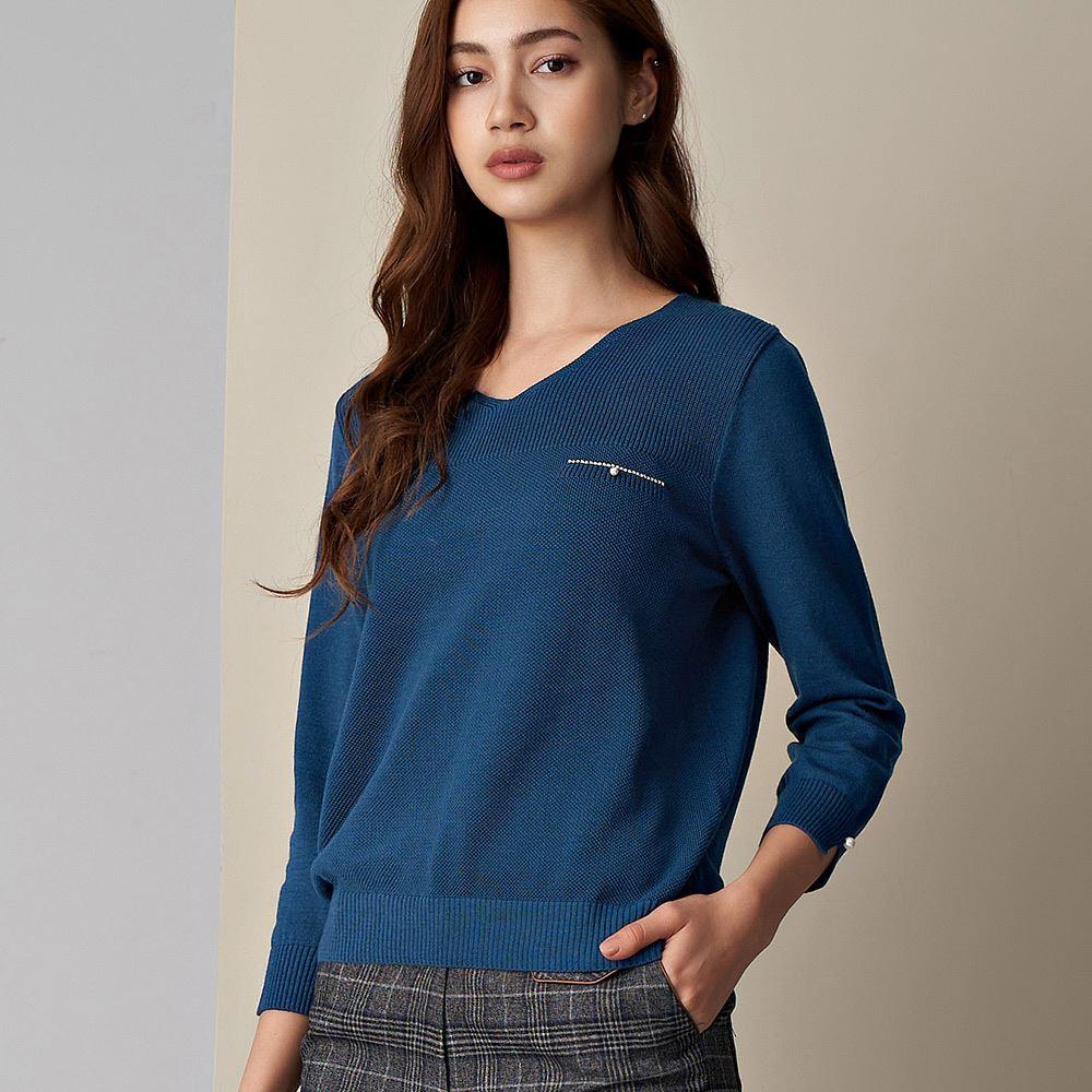 ILEY伊蕾 燙鑽珍珠V領七分袖針織上衣(藍/綠/桃)090527