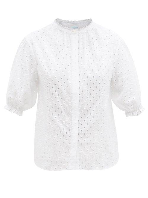 Loup Charmant - Pico Ruffled Cotton-eyelet Blouse - Womens - White