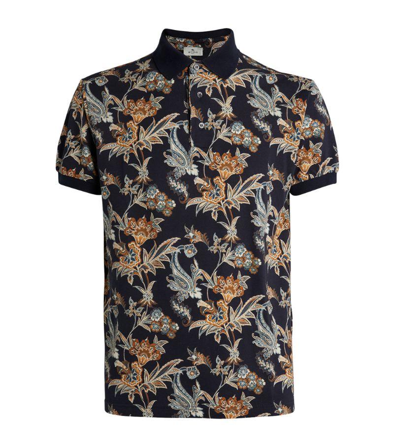 Etro Cotton Floral Print Polo Shirt