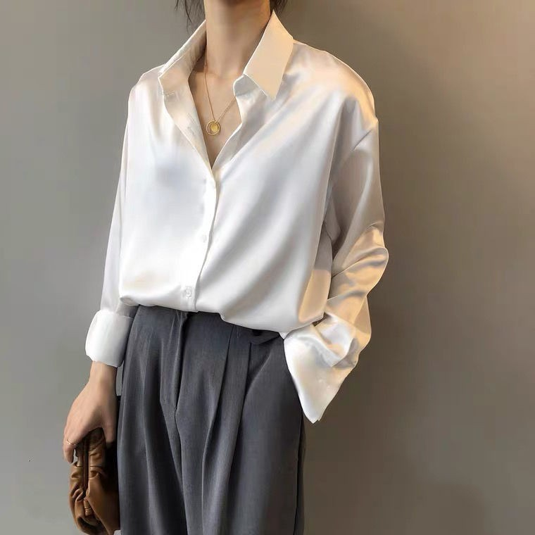 絲綢緞面襯衫女設計感小眾輕熟韓版寬松OL白色冷淡風襯衣紅玫瑰