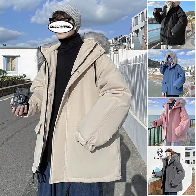 FOFU-潮大毛領連帽鋪棉寬鬆情侶潮流鋪棉外套【08SB00195】