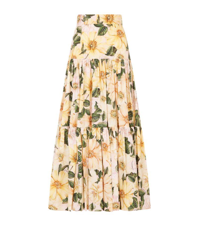 Dolce & Gabbana Cotton Camellia Skirt