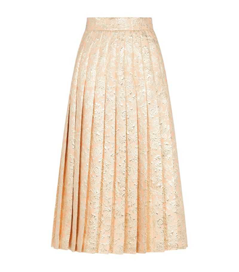 Dolce & Gabbana Jacquard Pleated Midi Skirt