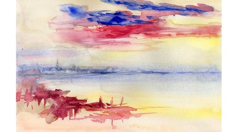 Watercolor painting for beginners, paint this TURNER sunrise