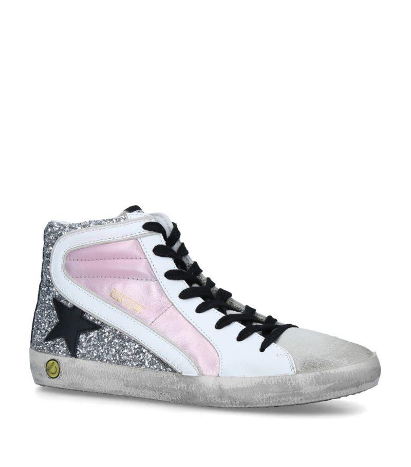 Golden Goose Leather Slide High-Top Sneakers