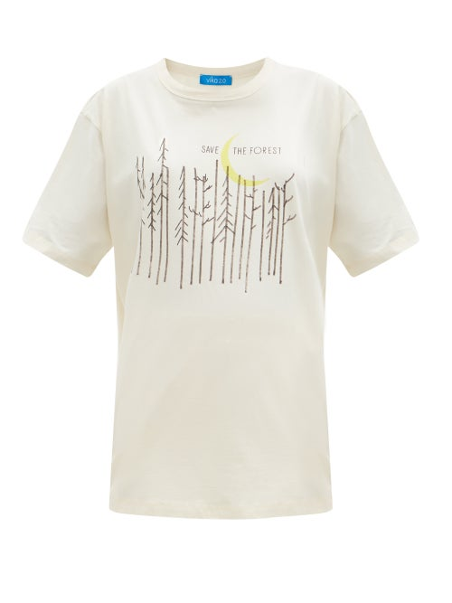 Vika 2.0 - Save The Forest-print Organic-cotton T-shirt - Womens - Cream