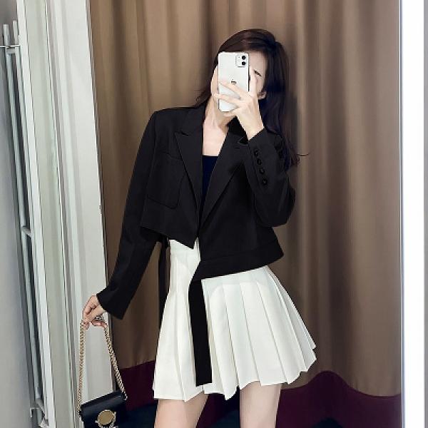 短款西裝外套小西裝女短款小個子外套春秋薄2021新款流行復古網紅時尚高腰西服T129 胖丫
