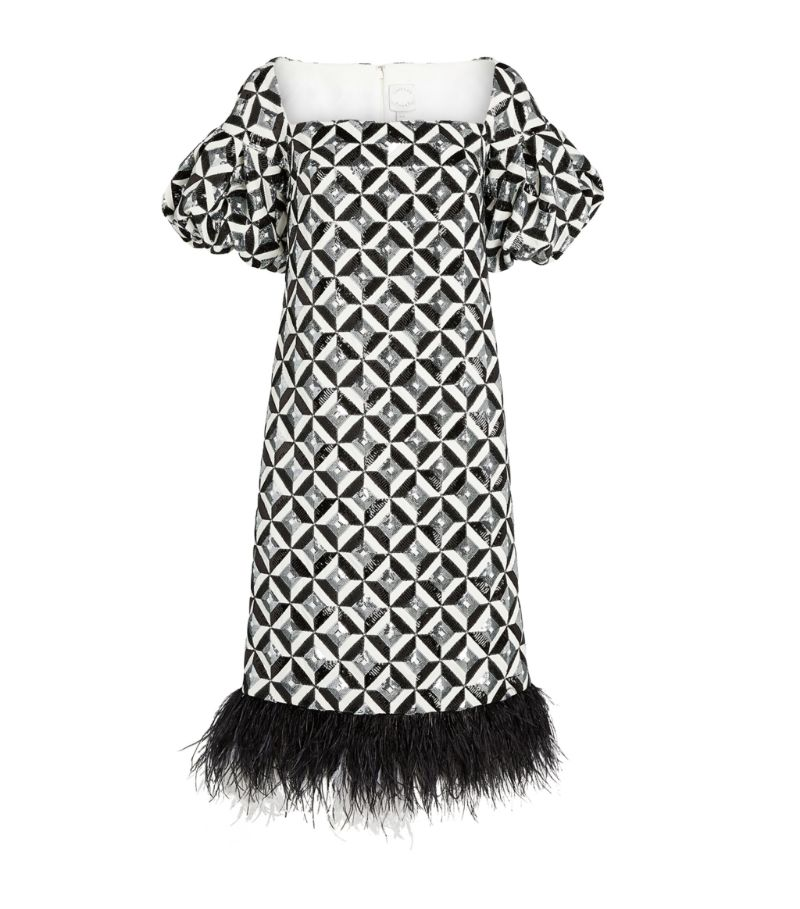 Huishan Zhang Sequinned Feather-Trim Meadow Dress