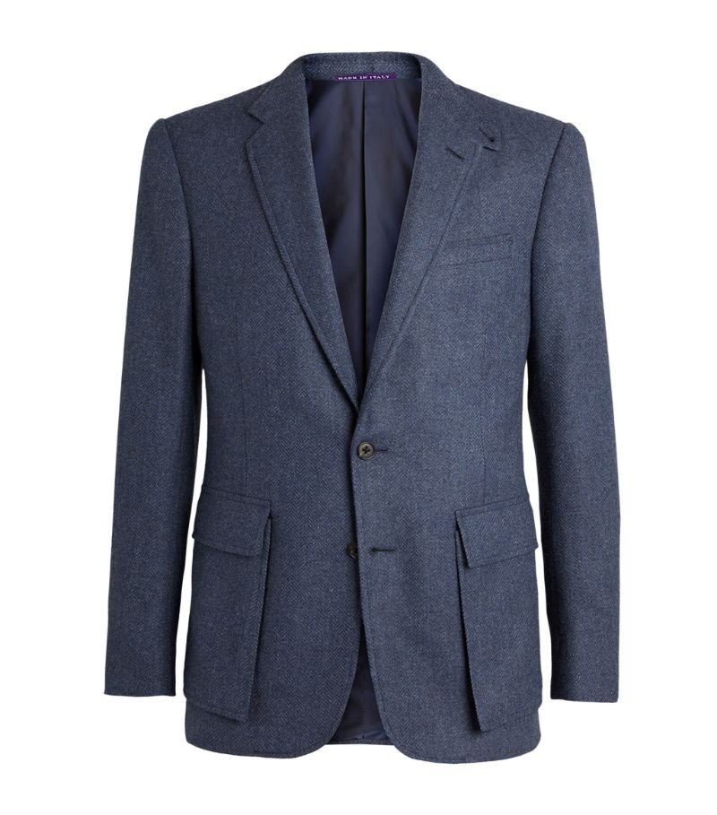 Ralph Lauren Purple Label Wool-Silk Herringbone Kent Blazer
