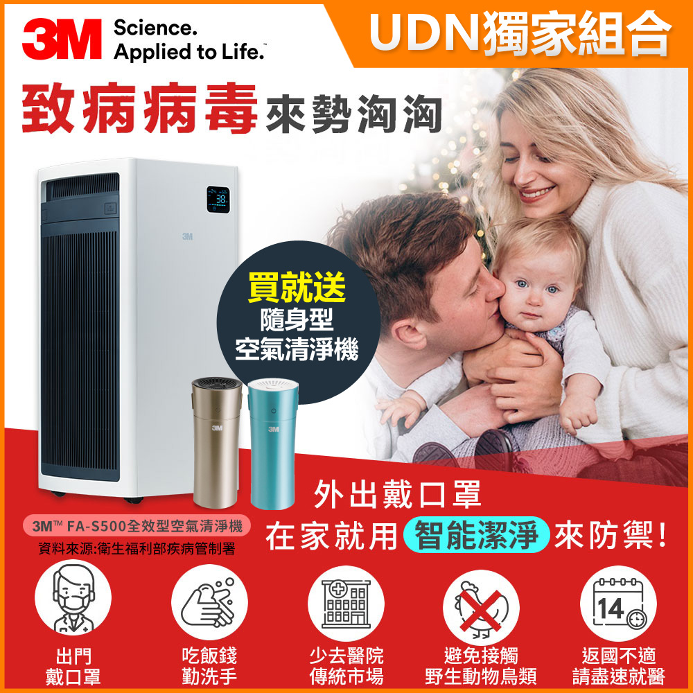(買大送小)3M FA-S500 淨呼吸全效型空氣清淨機(適用至32坪)-含靜電濾網2片組