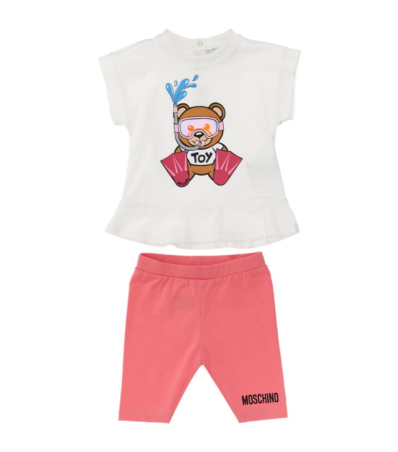 Moschino Kids Teddy Bear Scuba T-Shirt And Leggings Set (3-36 Months)