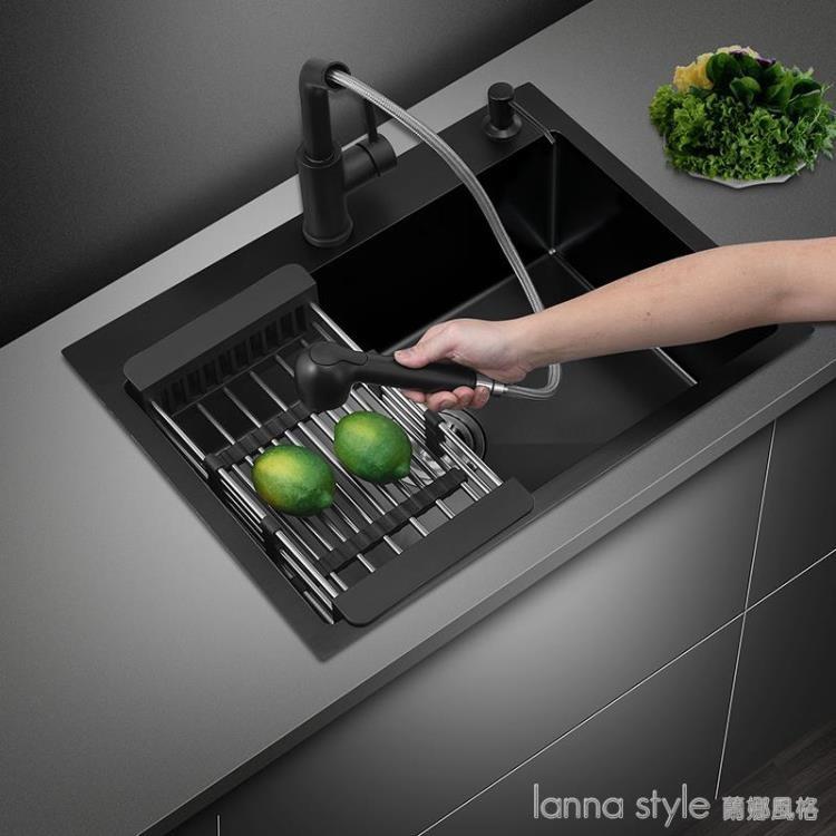 家用廚房黑色納米不銹鋼304大號水槽洗菜盆洗碗池單槽台下盆套餐