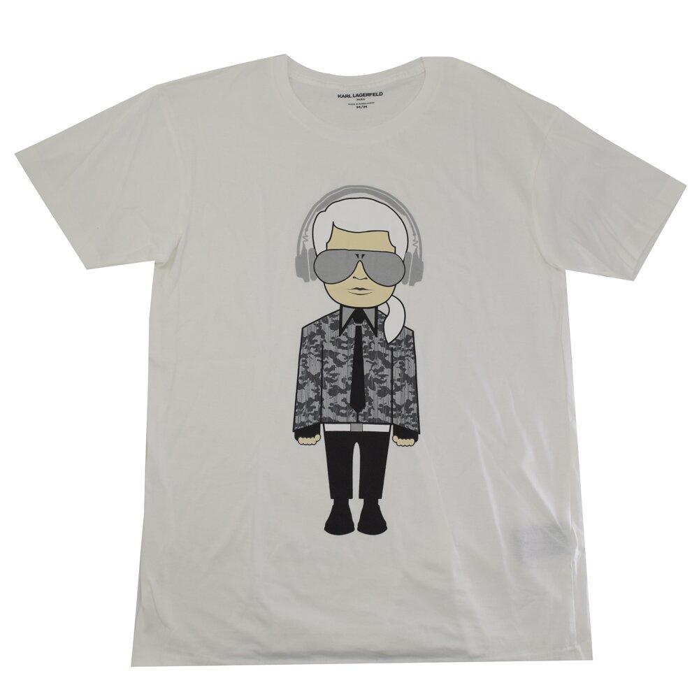 KARL LAGERFELD 卡爾 專櫃商品 嘻哈西裝風印花造型棉質短T恤.白 M
