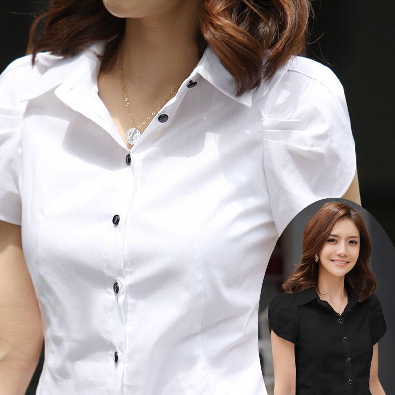 職業裝女夏大碼韓版修身OL胖mm工裝雪紡短袖襯衫女黑白2019荷葉袖