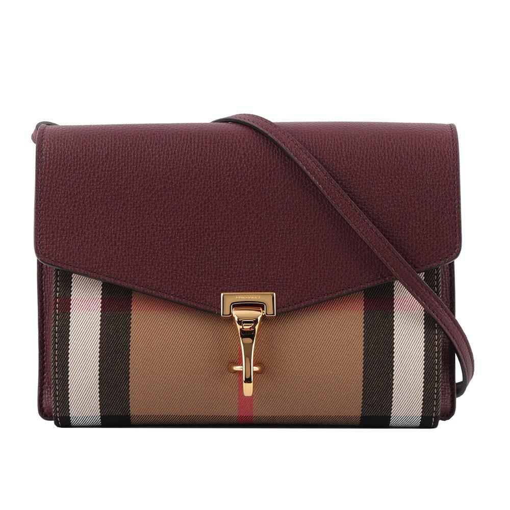 BURBERRY HOUSE格紋拼皮革小型斜背包(酒紅色) 39808281