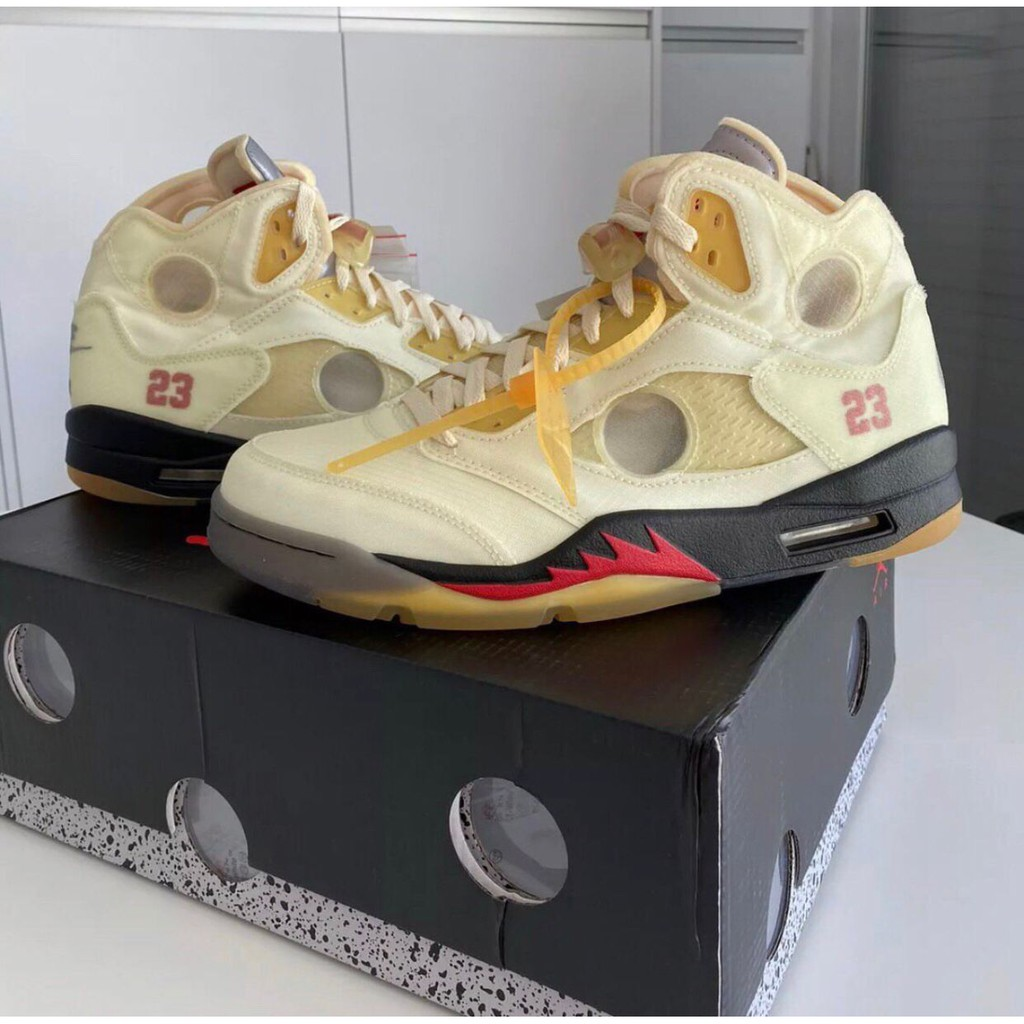 "全新 Off-White x Air Jordan 5 Retro SP 白帆 ""Sail"" DH8565-100 現貨"