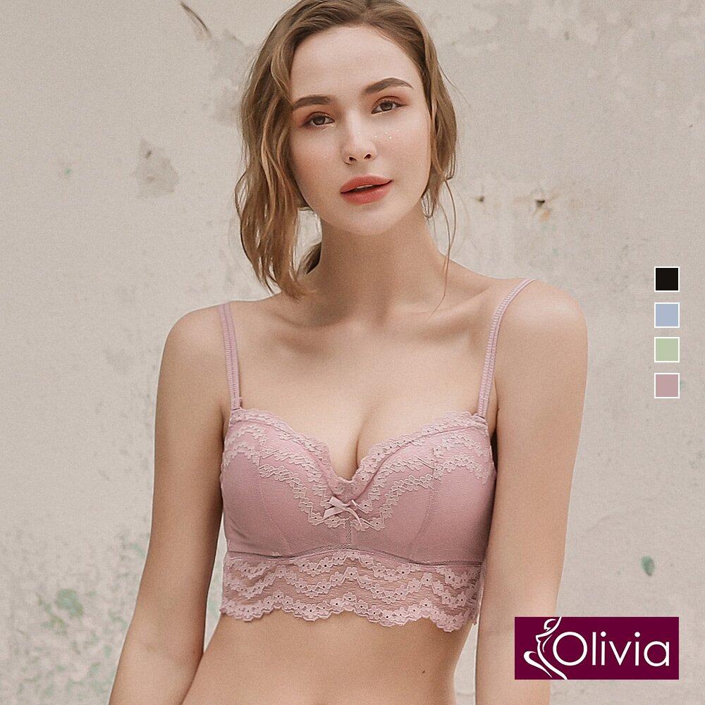 Olivia 舒冉系列-波斯頓蕨 無鋼圈蕾絲馬甲花邊內衣-粉色