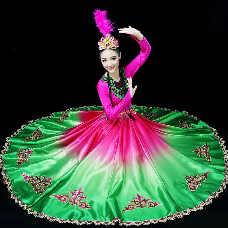 新疆大氣開場舞大擺裙演出服女維舞臺主持人演出服太極拳拉丁舞練功服尾牙祭比賽民族舞蹈服裝吾爾族舞蹈服裝少數民族表演服女