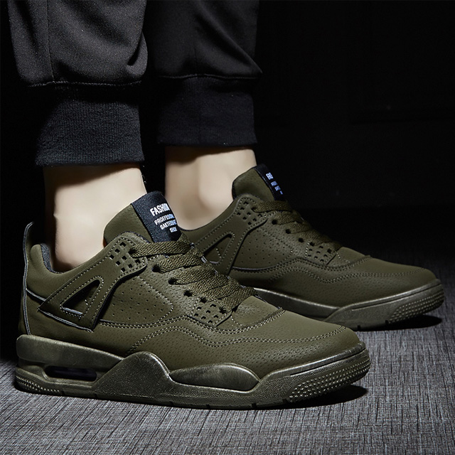 純色緩震氣墊運動休閒鞋 復古感AJ4造型 特殊反絨皮面料 百搭運動鞋球鞋潮鞋 【QTJSHK616】