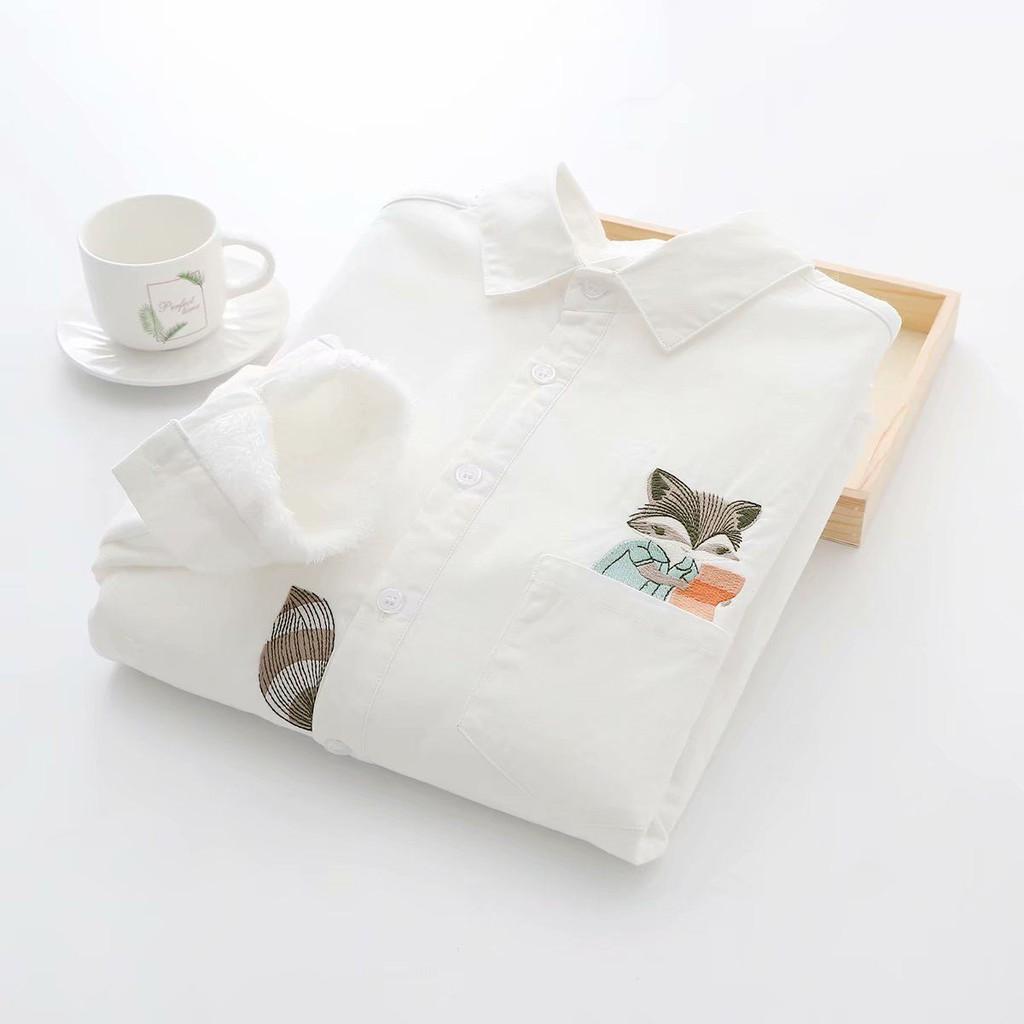 【2021】秋冬韓版學生加絨加厚小清新刺繡白襯衫女打底衫保暖上衣襯衣保暖