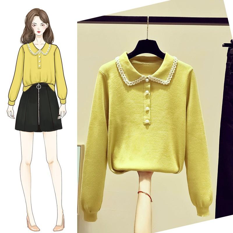 【毛衣爆款】2020年新款爆款秋冬裝女士黃毛衣女裝寬松外穿娃娃領打底內搭洋氣