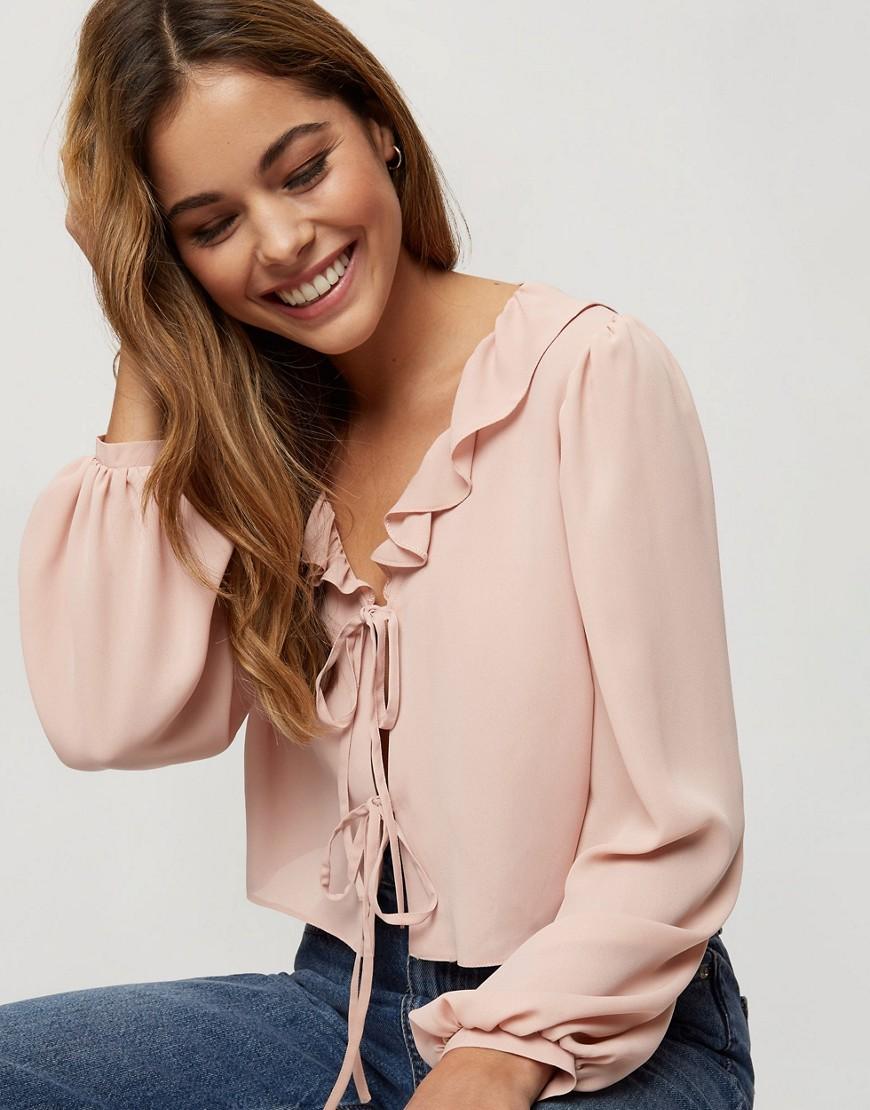 Miss Selfridge tie front blouse in blush-Pink