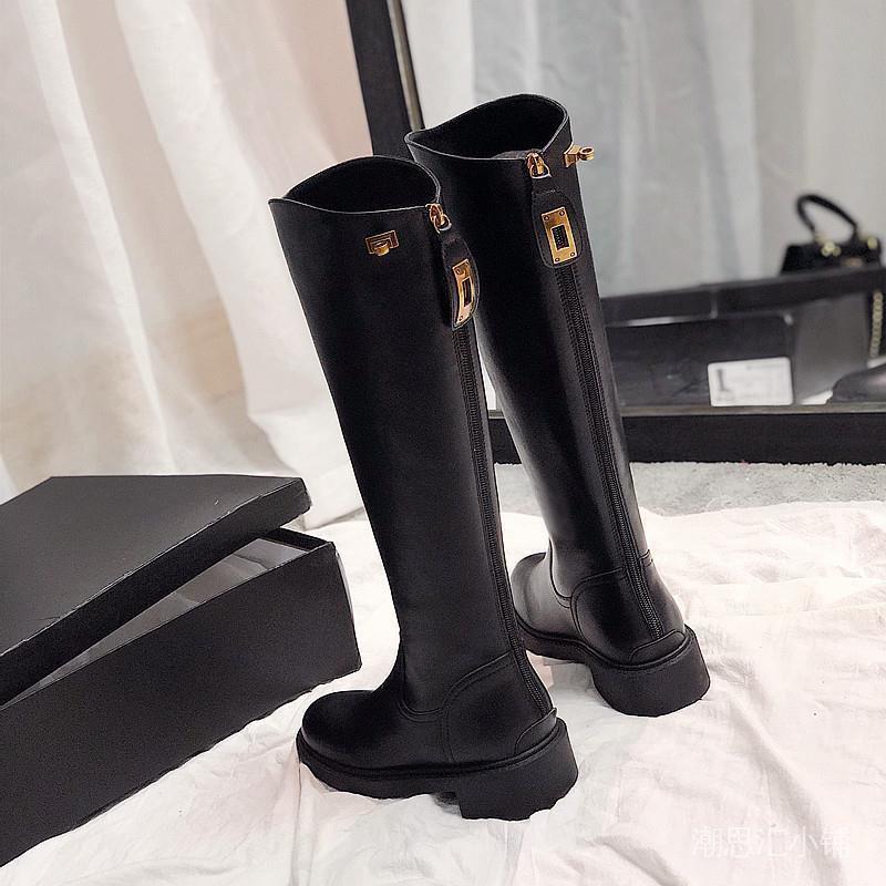 長筒靴女2020秋冬新款靴子粗跟馬靴圓頭後拉鍊扣長靴高筒騎士靴女