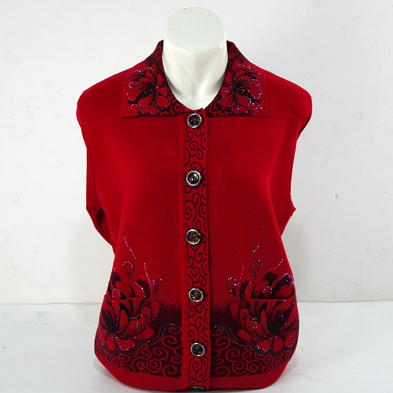 v1YH 老年人羊毛衫秋冬裝外套加大碼中老年女裝奶奶裝衣服開衫毛衣上衣