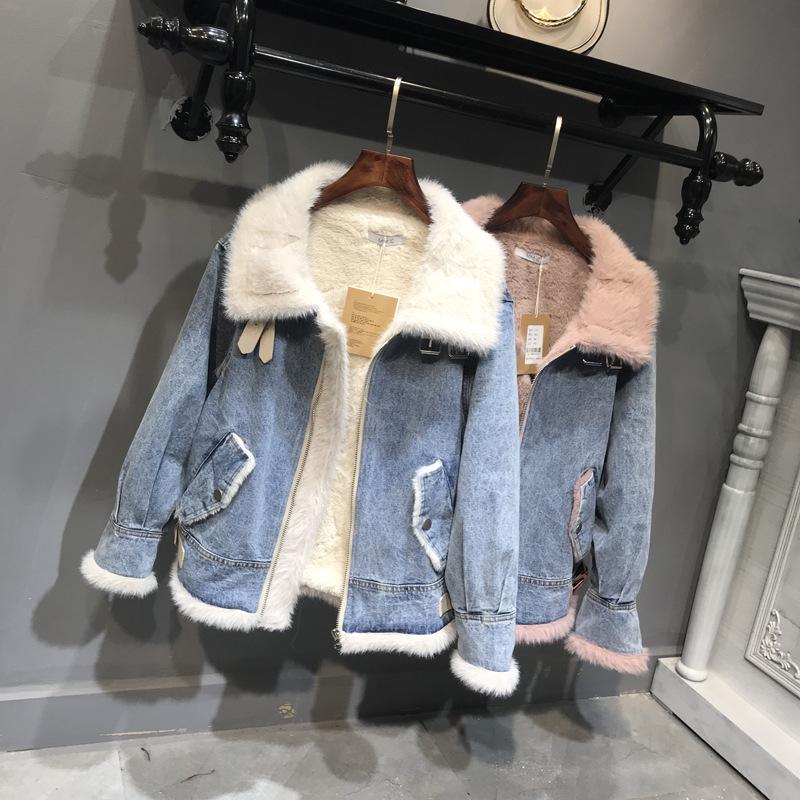 2021新款冬季羊羔絨牛仔外套 女加絨加厚韓版bf寬鬆風牛仔夾克棉服