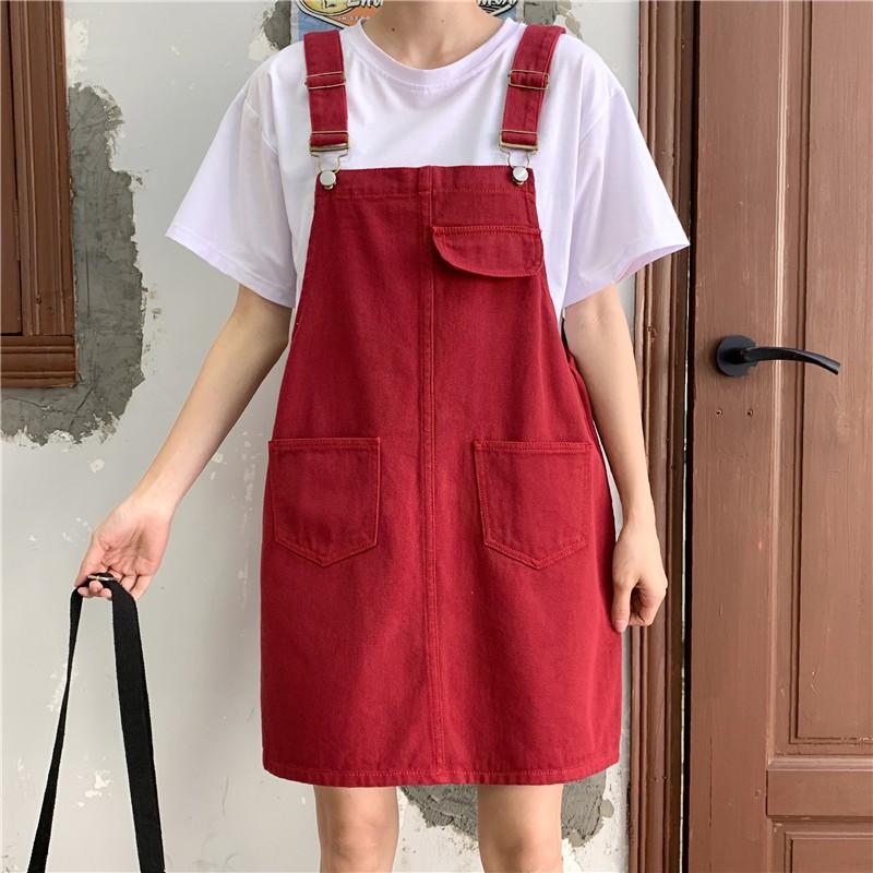 2020夏季新款寬松大碼胖mm牛仔背帶裙女學生a字半身裙減齡短裙潮