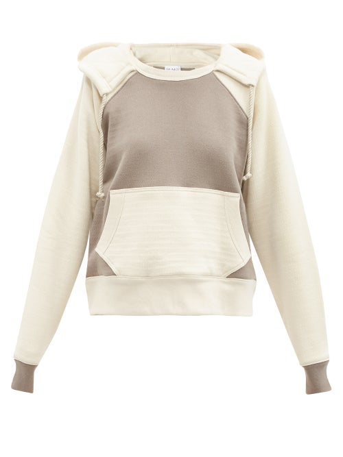 Raey - Two-tone Double-layer Cotton Hooded Sweatshirt - Womens - Brown Multi