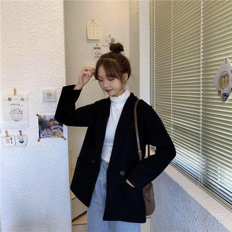 小西服西外秋冬季新款2020韓版學院風網紅西裝外套女學生百搭寬松純色女上衣