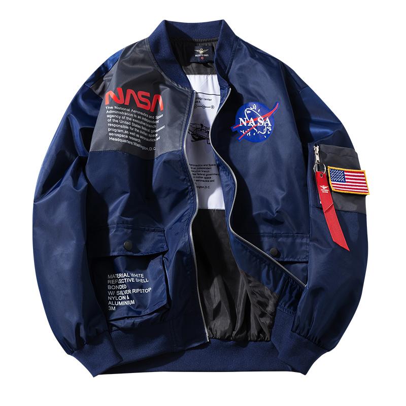 美國NASA太空總署刺繡貼章飄帶軍風飛行外套 MA-1外套 飛行夾克 小中大尺碼【QTJYZ966】