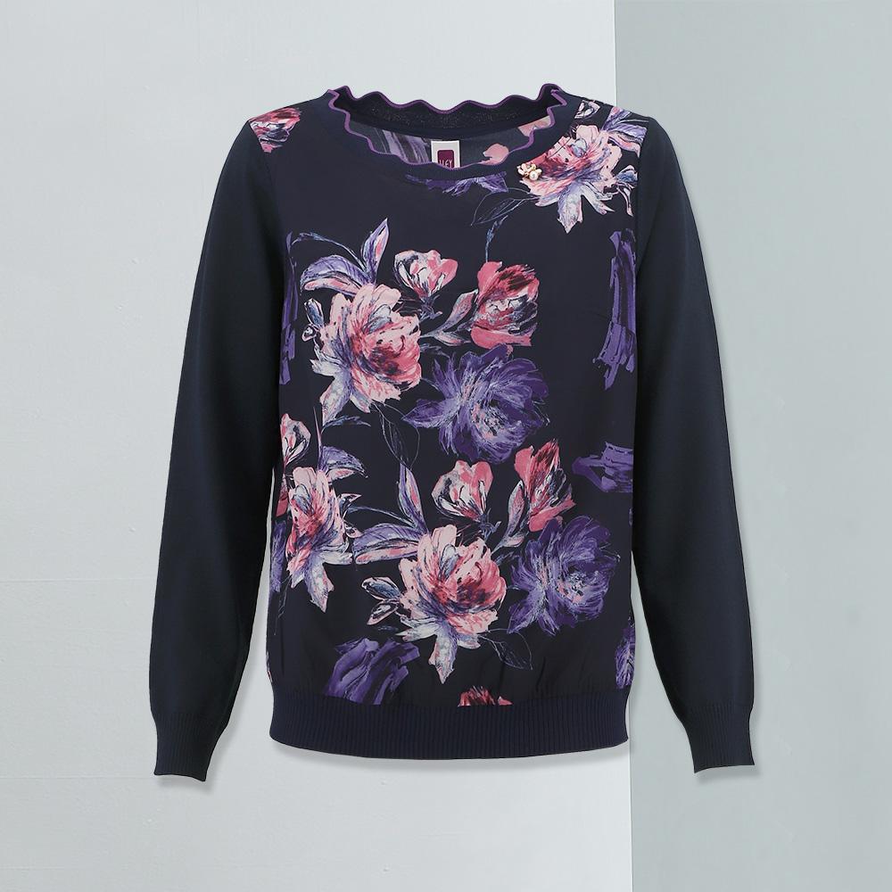 ILEY伊蕾 迷幻花朵印花造型領上衣(紫)959571