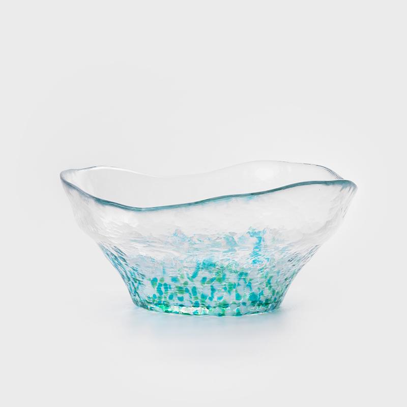 津輕 日製手作 16cm 芙蓉玻璃碗│水藍│單品