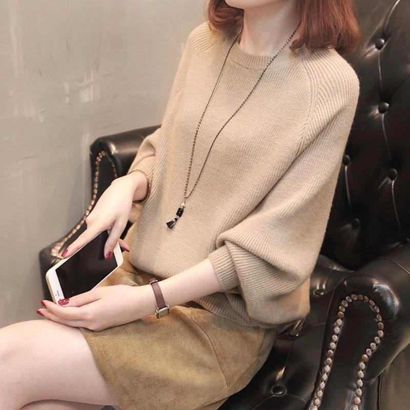 ☒✣✹❏♧秋裝 韓版休閒女裝 2020新款 韓版蝙蝠袖毛衣 女百搭寬鬆針織衫 上衣 時尚上衣 女生衣著