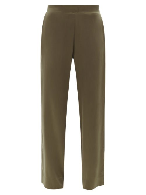 Asceno - London Silk-satin Pyjama Trousers - Womens - Khaki
