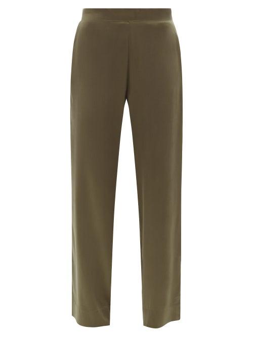 Asceno - London Silk-satin Pyjama Trousers - Womens - Khaki