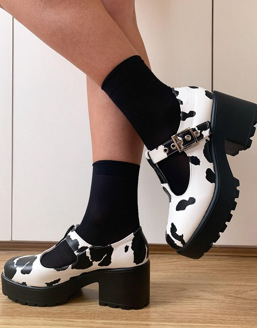 Koi Footwear Nettie vegan Mary Jane shoes in cow print-Multi